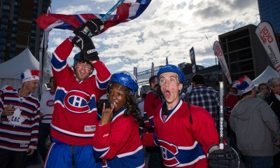 May 01, 2015 : Montreal Canadiens' fans cheer prior to game one of the second round of the 2015 Stanley Cup Playoffs between the Montreal Canadiens and the Tampa Bay Lightning at the Bell Centre in Montreal, Quebec, Canada.