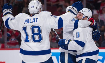 May 01, 2015 : Tampa Bay Lightning center Tyler Johnson #9 celebrates his goal with teammate defenseman Mark Barberio #8 and left wing Ondrej Palat #18 during game one of the second round of the 2015 Stanley Cup Playoffs between the Montreal Canadiens and the Tampa Bay Lightning at the Bell Centre in Montreal, Quebec, Canada.