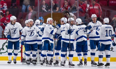 May 03, 2015 : Tampa Bay Lightning's players celebrate their victory during game two of the second round of the 2015 Stanley Cup Playoffs between the Montreal Canadiens and the Tampa Bay Lightning at the Bell Centre in Montreal, Quebec, Canada.