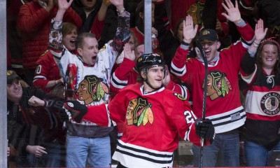 March 27, 2015: Chicago Blackhawks Left Wing Brandon Saad (20) [8995] celebrates a goal during the NHL game between the Chicago Blackhawks and Columbus Blue Jackets hosted at the United Center in Chicago, IL.