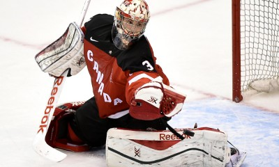 December 19, 2014: Canada goalie Zach Fucale (31) makes a glove save during Canada's 2-1 loss to Russia in a tune up game for the world junior championships at Air Canada Centre, Toronto, ON.