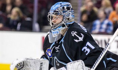31 March 2015:  Milwaukee Admirals G Marek Mazanec (31) during the game between the Milwaukee Admirals and Lake Erie Monsters at Quicken Loans Arena in Cleveland, OH.  Lake Erie defeated Milwaukee 2-1 in overtime.