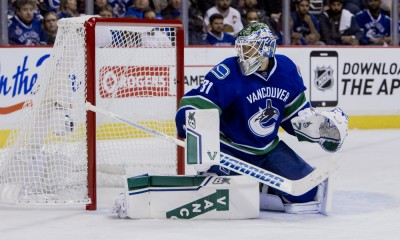 15 April 2015 : Vancouver Canucks goalie Eddie Lack (31) vs the Calgary Flames in the third period of Game #1 of the 2015 NHL Western Conference Quarter Finals at Rogers Arena in Vancouver, British Columbia, Canada. Calgary won 2-1.  ****For Editorial Use Only****