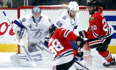 10 June 2015:  Tampa Bay Lightning Goalie Ben Bishop (30) [5131] blocks a shot from Chicago Blackhawks Right Wing Patrick Kane (88) [6040] in action during game four of the Stanley Cup Finals between the Tampa Bay Lightning and the Chicago Blackhawks at the United Center, in Chicago, IL.