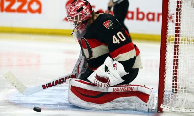 12 February 2015: Ottawa Senators Goalie Robin Lehner (40) [7577] with a save during a game between the Penguins and Senators at Canadian Tire Centre in Ottawa, On. ***** Editorial Use Only *****