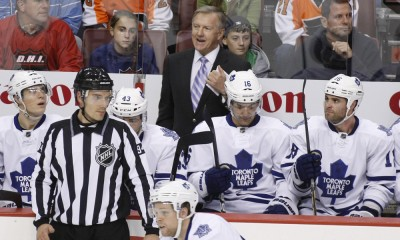 24 October 2011: Toronto Maple Leafs coach Ron Wilson talks to a referee during the first period of the game between the Toronto Maple Leafs and the Philadelphia Flyers at The Wells Fargo Center in Philadelphia, Pennsylvania.