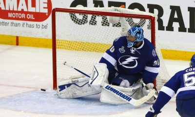 June 03 2015: Tampa Bay's Ben Bishop (30) makes a save in the third period of  game one of the 2015 Stanley Cup Finals between the Chicago Blackhawks and the Tampa Bay Lightning at Amalie Arena in Tampa, Florida.