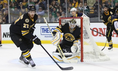 March 17, 2015: Boston Bruins Defenceman Dougie Hamilton (27) [8637] scrambles to clear the puck from Boston Bruins Goalie Niklas Svedberg (72) [7271]. The Buffalo Sabres defeated the Boston Bruins 2-1 (SO) in a regular season NHL game at TD Garden in Boston, Massachusetts.