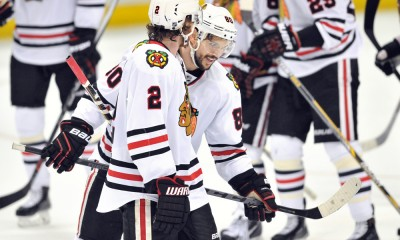 30 May, 2015: Chicago Blackhawks (80) Antoine Vermette and (2) Duncan Keith on the ice after the Blackhawks defeated the Anaheim Ducks 5 to 3 at the Honda Center to capture the Western Conference title and move onto the Stanley Cup finals.