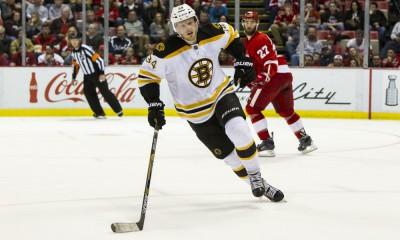 April 2, 2015:  Boston Bruins forward Carl Soderberg, of Sweden, (34) skates during a regular season NHL hockey game between the Boston Bruins and the Detroit Red Wings played at Joe Louis Arena in Detroit, Michigan.