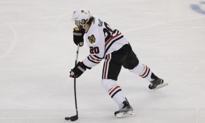 03 June 2015: Chicago Blackhawks left wing Brandon Saad (20) takes a shot in the 1st period of Game 1 of the Stanley Cup Finals between the Chicago Blackhawks and Tampa Bay Lightning at Amalie Arena in Tampa, FL.