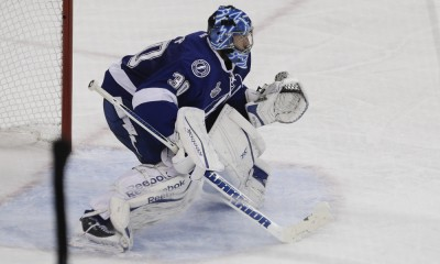03 June 2015: Tampa Bay Lightning goalie Ben Bishop (30) during Game 1 of the Stanley Cup Finals between the Chicago Blackhawks and Tampa Bay Lightning at Amalie Arena in Tampa, FL.