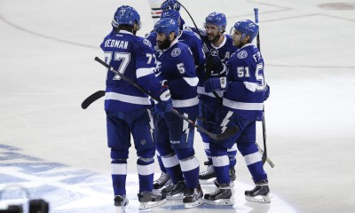 06 June 2015: Tampa Bay Lightning center Tyler Johnson (9) is congratulated by teammates Victor Hedman (77), Valtteri Filppula (51), Alex Killorn (17) and Ryan Callahan (24) after scoring a goal in the 2nd period of Game 2 of the Stanley Cup Finals between the Chicago Blackhawks and Tampa Bay Lightning at Amalie Arena in Tampa, FL.