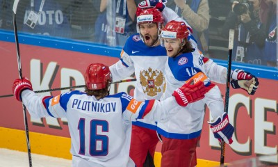 Prague, 16.5.2015, Ice Hockey IIHF World Championships, USA - Russia, Alexander Ovechkin (RUS), Sergei Plotnikov and Viktor Tikhonov celebrate the goal****NO AGENTS----NORTH AND SOUTH AMERICA SALES ONLY----NO AGENTS----NORTH AND SOUTH AMERICA SALES ONLY****