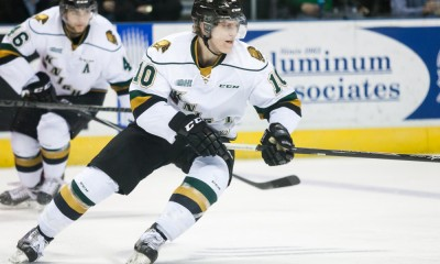December 5, 2014. Christian Dvorak (10) of the London Knights follows the play during a game between the London Knights and the Sault Ste. Marie Greyhounds. The Greyhounds defeated the Knights 4-0 at Budweiser Gardens in London Ontario, Canada.