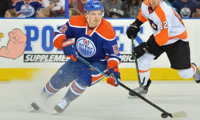 21 March 2015: Edmonton Oilers Center Anton Lander (51) [7666] in action against the Philadelphia Flyers during NHL action at Rexall Place in Edmonton, Alberta, Canada.
