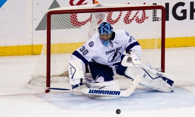 May 29, 2015: Tampa Bay Lightning Goalie Ben Bishop (30) with a save during the 2nd period of game 7 of the Eastern Conference Finals between the Tampa Bay Lightning and the New York Rangers at Madison Square Garden in New York, NY.
