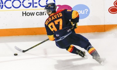 November 6, 2014: Erie C, Connor McDavid (97), turns up ice during Niagara's 5-2 victory at Meridian Center in St. Catherine's, Ontario.