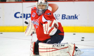 10 January 2015:  Washington Capitals goalie Pheonix Copley (1) warms up at the Verizon Center in Washington, D.C. where the Washington Capitals defeated the Detroit Red Wings, 3-1.
