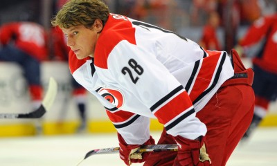 31 March 2015:  Carolina Hurricanes right wing Alexander Semin (28) warms up at the Verizon Center in Washington, D.C. where the Washington Capitals defeated the Carolina Hurricanes, 4-2.