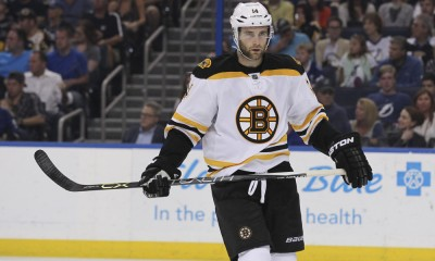 11 April 2015: Boston Bruins right wing Brett Connolly (14) during the NHL regular season game between the Boston Bruins and Tampa Bay Lightning at Amalie Arena in Tampa, FL.