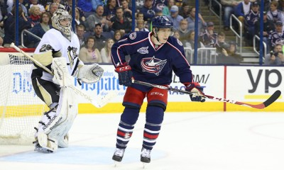 April 04, 2015; Columbus Blue Jackets left wing Matt Calvert (11) during the third period of the game between the Columbus Blue Jackets and the Pittsburgh Penguins at the Nationwide Arena in Columbus, Ohio. Columbus Blue Jackets win 5-3.