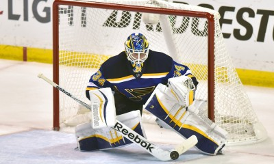 April 24, 2015: St. Louis Blues' goalie Jake Allen (34) stops a shot during Game Five of the Western Conference Quarterfinals between the Minnesota Wild and the St. Louis Blues at Scottrade Center in St. Louis, Mo. The Wild won, 4-1.