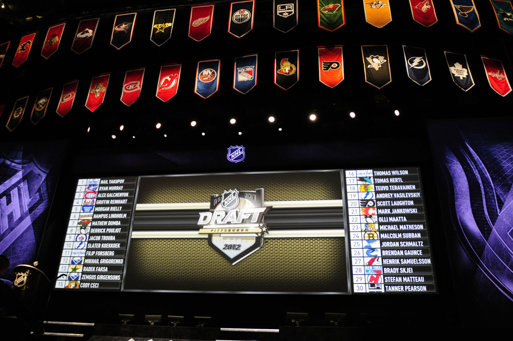 22 June 2012: General view of the stage and draft board during the 2012 NHL Entry Draft in Pittsburgh, Pennsylvania.