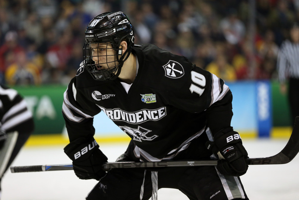 April 11, 2015: Providence College Forward Mark Jankowski (10) moves in for a face off. The Providence College Friars defeated the Boston University Terriers 4-3 in the final of the Frozen Four, NCAA Division 1 Men's Ice Hockey Championship at TD Garden in Boston, Massachusetts. Providence wins their first ever NCAA championship.