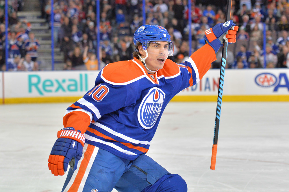 16 March 2015: Edmonton Oilers Right Wing Nail Yakupov (10) [7209] celebrates after making an assist on a goal by Left Wing Benoit Pouliot (67) [4961] against the Toronto Maple Leafs during NHL action at Rexall Place in Edmonton, Alberta, Canada.16 March 2015: during NHL action at Rexall Place in Edmonton, Alberta, Canada.