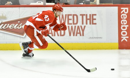 April 23, 2015:Detroit Red Wings center Darren Helm (43) on a breakaway during the Stanley Cup Playoffs Eastern Conference Round 1 Game 4 game on Thursday evening, Joe Louis Arena, Detroit, Michigan.
