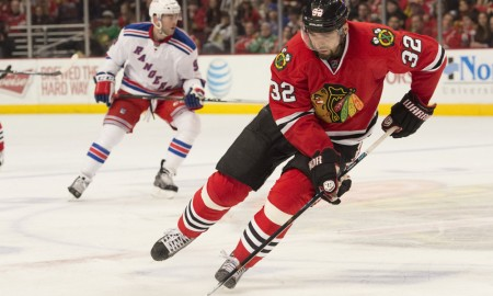 March 8, 2015: Chicago Blackhawks Defenceman Michal Rozsival (32) [1557] in action during the game between the New York Rangers and Chicago Blackhawks hosted at the United Center in Chicago, IL.