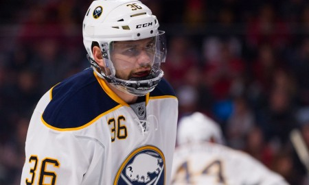 NOV 29, 2014 : Buffalo Sabres right wing Patrick Kaleta #36 during an NHL game between the Buffalo Sabres and the Montreal Canadiens at the Bell Centre in Montreal, Quebec, Canada. The Buffalo Sabres defeated the Montreal Canadiens 4-3.