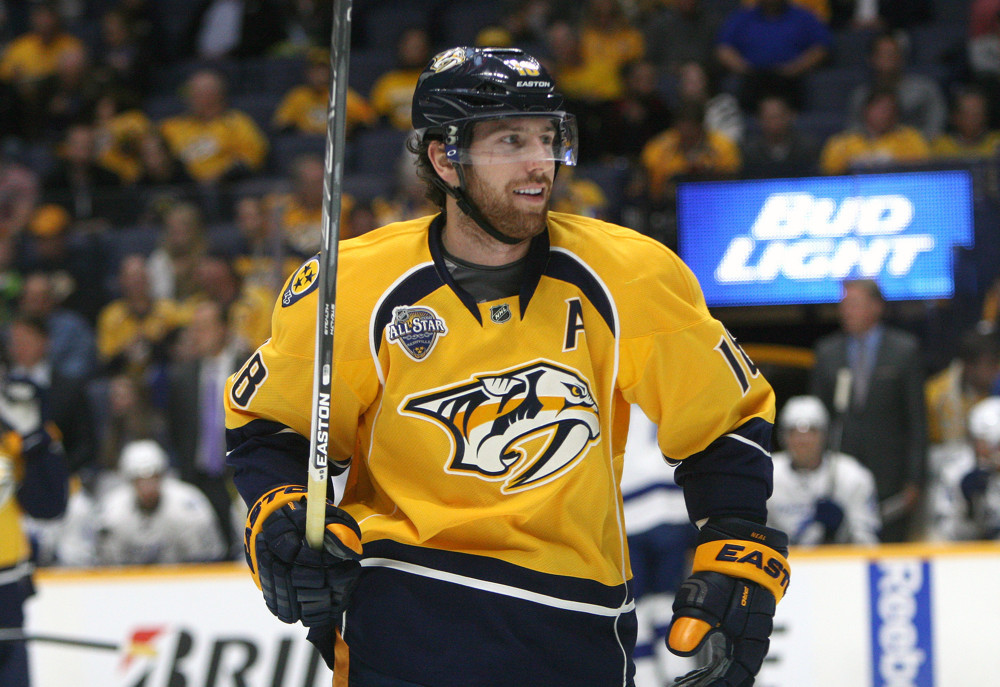 October 20, 2015: Nashville Predators forward James Neal (18) is shown during an NHL game between the Nashville Predators and the Tampa Bay Lightning, held at Bridgestone Arena in Nashville, Tennessee. (Photo by Danny Murphy/Icon Sportswire)