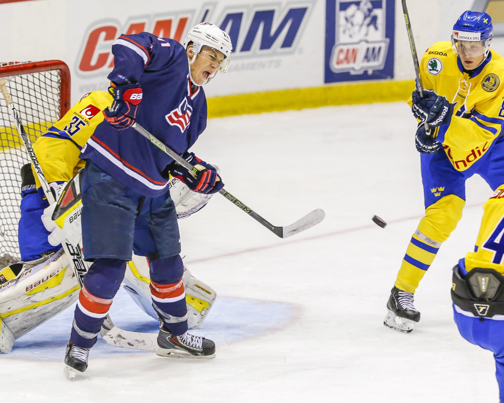 August 6, 2015: USA Hockey F, Matthew Tkachuk (11), attempts to re-direct puck during 5-2 exhibition loss to Sweden during USA Hockey Junior Evaluation Camp at Herb Brooks Arena in Lake Placid, NY.