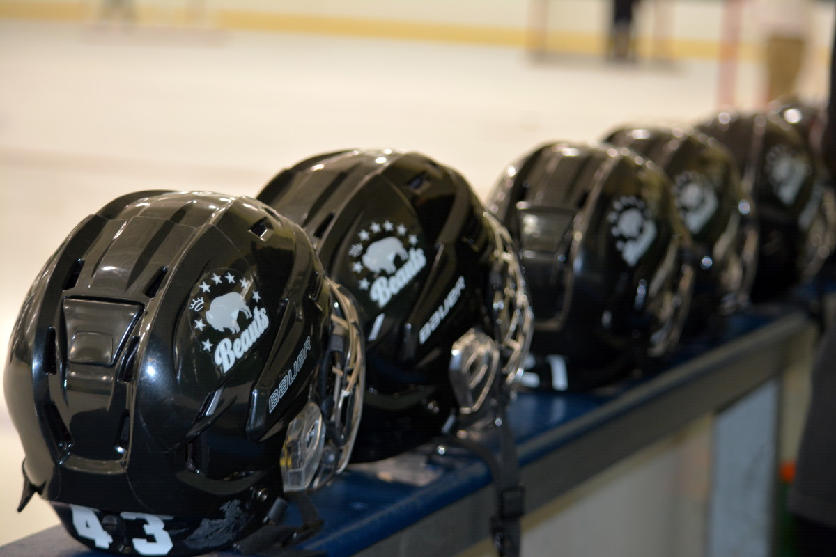 Buffalo Beauts helmets at NWHL Buffalo Beauts at Connecticut Whale. Dec. 6 2015. Mandatory Photo Credit: Kaitlin S. Cimini