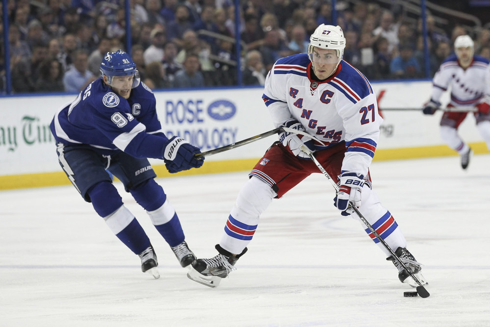 30 December 2015: New York Rangers defenseman Ryan McDonagh (27) is defended by Tampa Bay Lightning center Steven Stamkos (91) during the NHL game between the New York Rangers and Tampa Bay Lightning at the Amalie Arena in Tampa, FL. (Photo by Mark LoMoglio/Icon Sportswire)