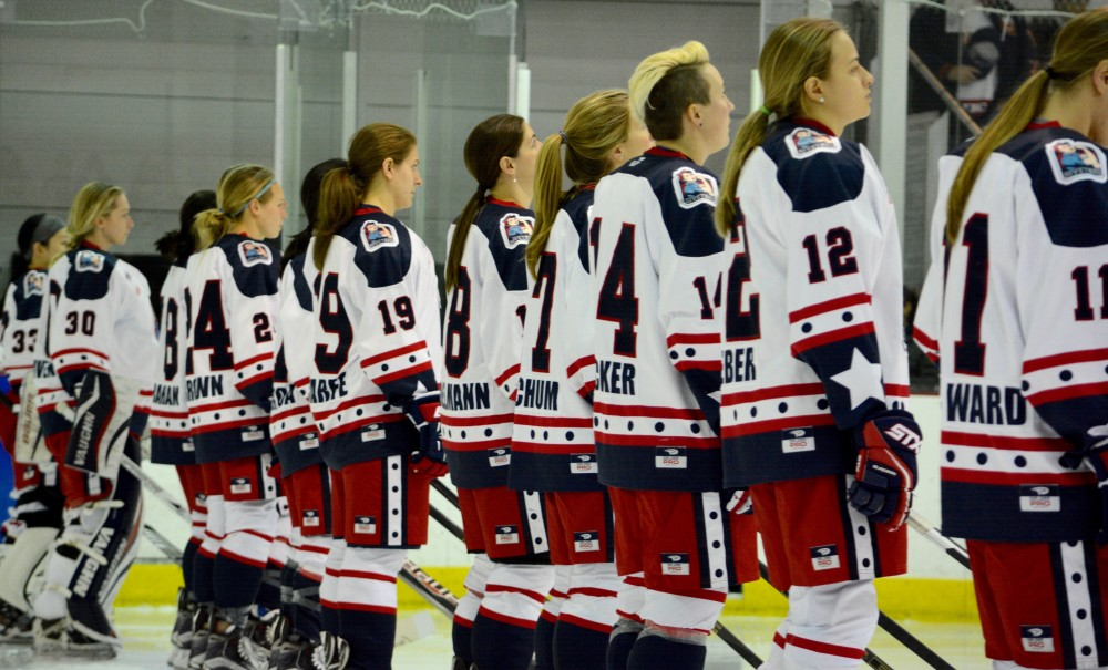 Riveters line up at NWHL Connecticut Whale at New York Riveters. Mandatory Photo Credit: Kaitlin S. Cimini