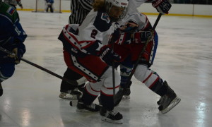 Amber Moore steps into the play. NWHL New York Riveters at Connecticut Whale Feb 28 2016. Mandatory Photo Credit: Kaitlin S. Cimini