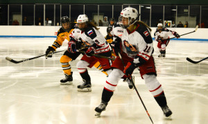 Janine Weber controls the puck on a zone entry. New York Riveters at Boston Pride, Semifinals, March 6-7 2016. Mandatory Photo Credit: Kaitlin S. Cimini