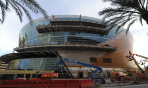 The new Las Vegas MGM-AEG Arena (The Arena) is seen Monday Sep 28, 2015. The new arena will be home to the new Las Vegas NHL expansion franchise. (Photo by Josh Holmberg/Icon Sportswire)