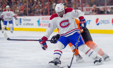 02 February 2016: Montreal Canadiens defenseman P.K. Subban (76) tries to gain control of the puck during the NHL game between the Montreal Canadiens and the Philadelphia Flyers played at the Wells Fargo Center in Philadelphia, PA. (Photo by Gavin Baker/Icon Sportswire)