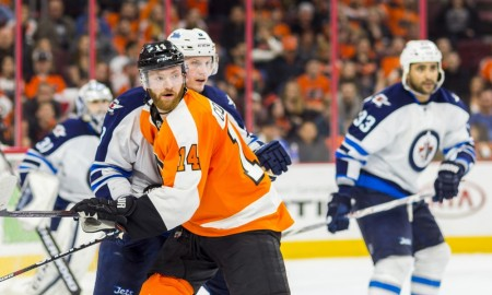 28 March 2016: Philadelphia Flyers center Sean Couturier (14) looks on during the NHL game between the Winnipeg Jets and the Philadelphia Flyers played at the Wells Fargo Center in Philadelphia, PA. (Photo by Gavin Baker/Icon Sportswire)