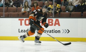 March 18, 2016: Anaheim Ducks defenseman Simon Despres (24) during the NHL regular season game between the Boston Bruins and the Anaheim Ducks at the Honda Center in Anaheim, Calif. (Photo by Ric Tapia/ Icon Sportswire)