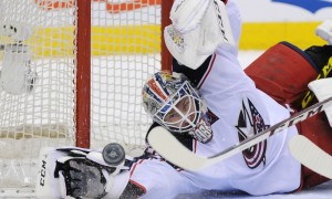 April 6, 2016: Columbus Blue Jackets Goalie Sergei Bobrovsky (72) [6354] makes a diving save during the game between the Toronto Maple Leafs game against the Columbus Blue Jackets at Air Canada Centre in Toronto, ON. (Photo by Gerry Angus/Icon Sportswire)