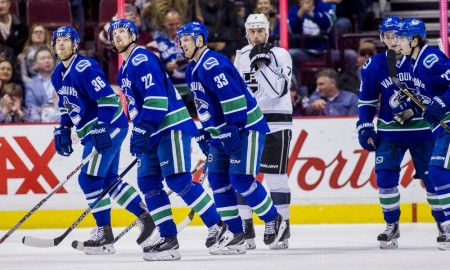 04 Apr 2016; Vancouver Canucks forward Jannik Hansen (36) and forward Daniel Sedin (22) and center Henrik Sedin (33) celebrate Hansen's second period goal against the Los Angeles Kings during a game at Rogers Arena in Vancouver BC. (Photograph by Bob Frid/Icon Sportswire)