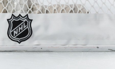 13 November 2014: The NHL logo displayed behind the net during the NHL match between the Boston Bruins and the Montreal Canadiens at the Bell Centre in Montreal Quebec, Canada. The Canadiens defeated the Bruins 5-1.