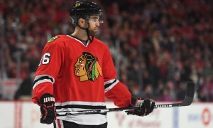 03 April 2016: Chicago Blackhawks Left Wing Andrew Ladd (16) [4409] in action during a game between the Chicago Blackhawks and the Boston Bruins at the United Center in Chicago, IL. (Photo by Robin Alam/Icon Sportswire)