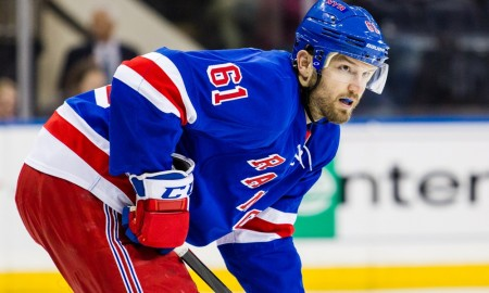 March 27, 2016: New York Rangers Left Wing Rick Nash (61) [2288] during a Metropolitan Divisional match-up between the Pittsburgh Penguins and the New York Rangers at Madison Square Garden in New York, NY. With 29.5 seconds left in overtime Sidney Crosby scored to notch the win for the Penguins 3-2. (Photo by David Hahn/Icon Sportswire)