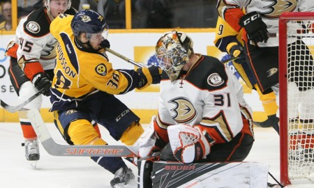 April 21, 2016: Anaheim Ducks goalie Frederik Andersen (31) makes a save on Nashville Predators left wing Viktor Arvidsson (38), of Sweden, during game four of the quarter-final round of the Stanley Cup playoffs between the Nashville Predators and the Anaheim Ducks, held at Bridgestone Arena in Nashville, Tennessee. (Photo by Danny Murphy/Icon Sportswire)